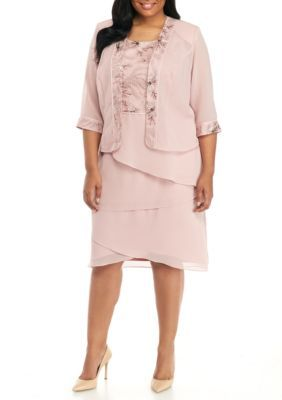 8c65bf8448dd Le Bos Women's Plus Size Sequined Top Tiered Skirt Jacket Dress - Dusty  Rose - 18W