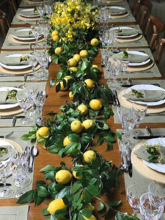 Lemon Wedding Theme Lemon Table Runner With Greenry