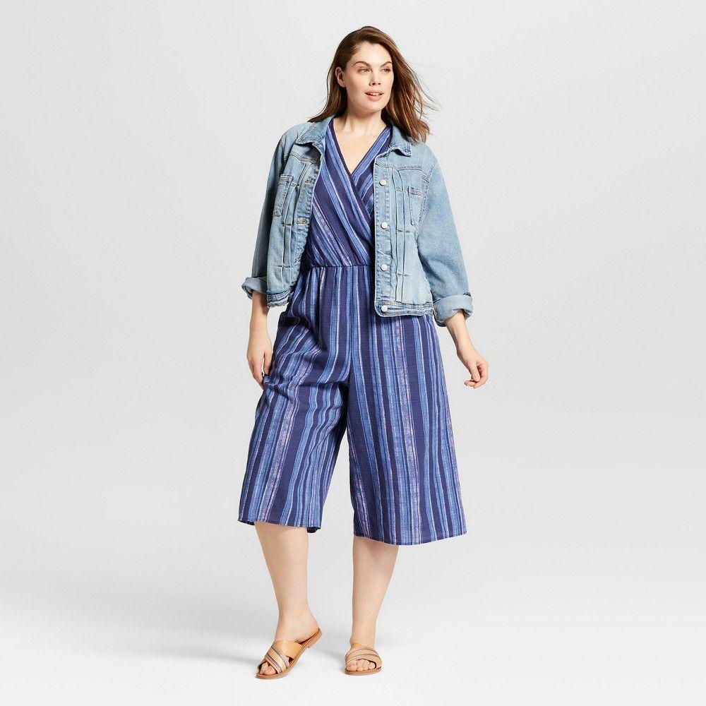 a6e17dfdf827 Women s Plus Size Stripe Wrap Front Jumpsuit - Universal Thread Blue ...