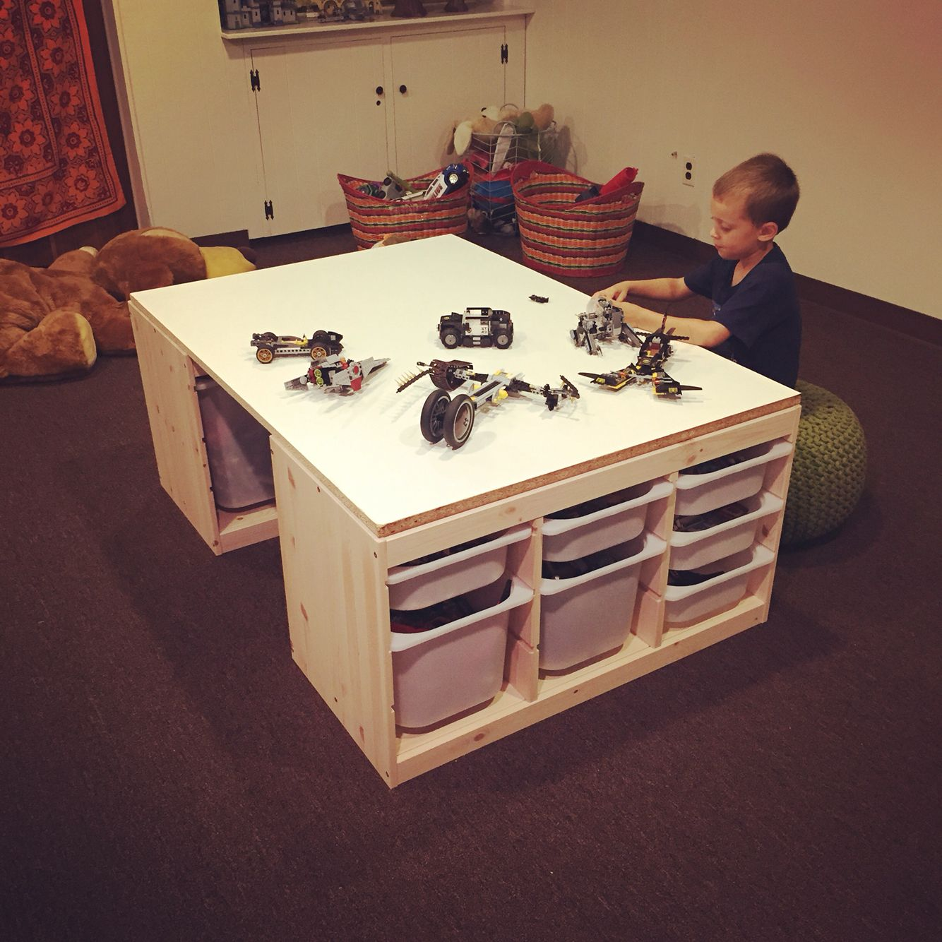 diy lego table made with 2 ikea trofast storage units and a custom cut mdf board total cost. Black Bedroom Furniture Sets. Home Design Ideas