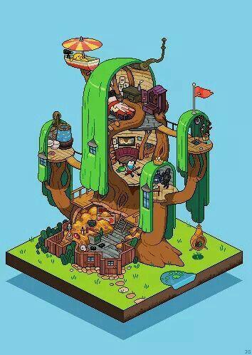 La Casa Del Arbol Hora De Aventuras Anime Dibujos Animados Adventure Time