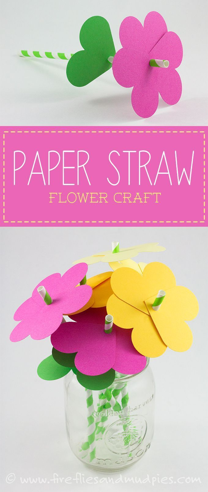 How to make simple paper heart flowers flower crafts fireflies paper straw flower craft perfect for spring fireflies and mud pies mightylinksfo
