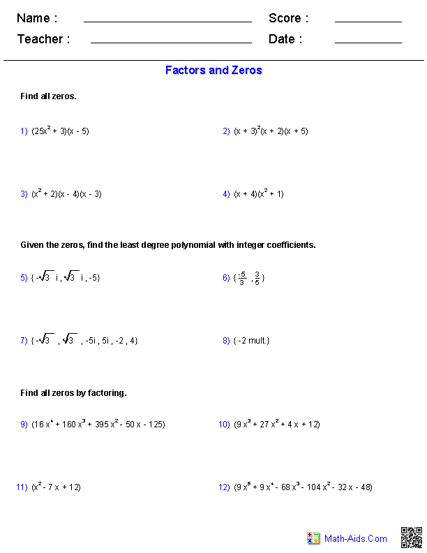 Printable Worksheets math functions worksheets : Factors and Zeros Polynomial Functions Worksheets | Math-Aids.Com ...