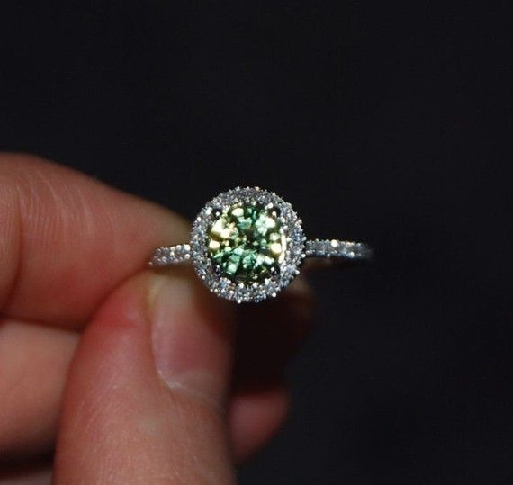 Sparkling Green Tea  sapphire and diamond ring  by EidelPrecious