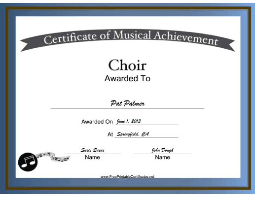 Free Printable Choir Certificates | Choir Vocal Music ...