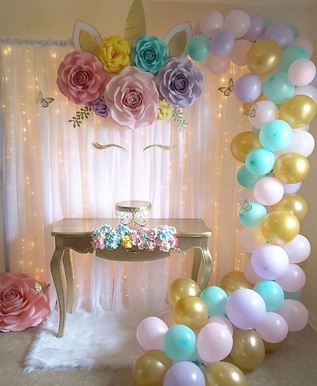 Unicorn curtain backdrop insanely cute party ideas to help you create your kid   most memorable birthday popsugar family also flower diy rh pinterest