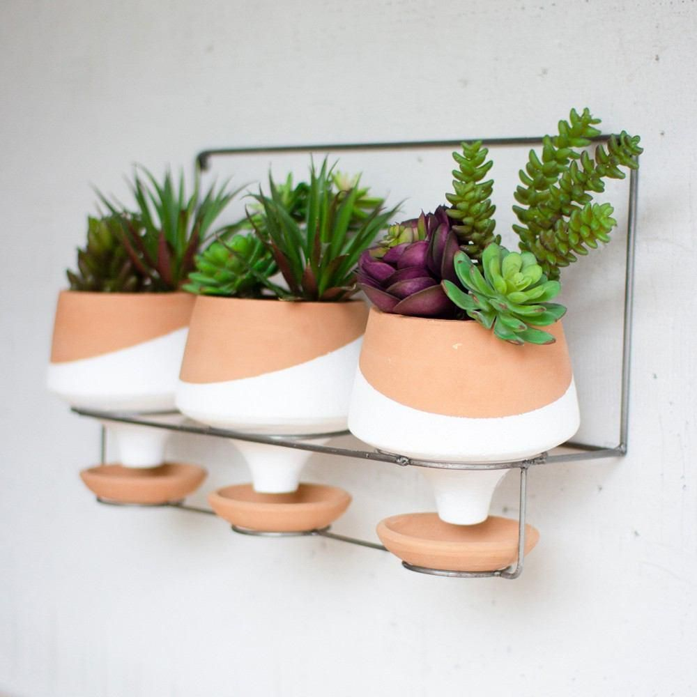 Kalalou Wall Planters On Wire Hanger S 3 White Planters Wall
