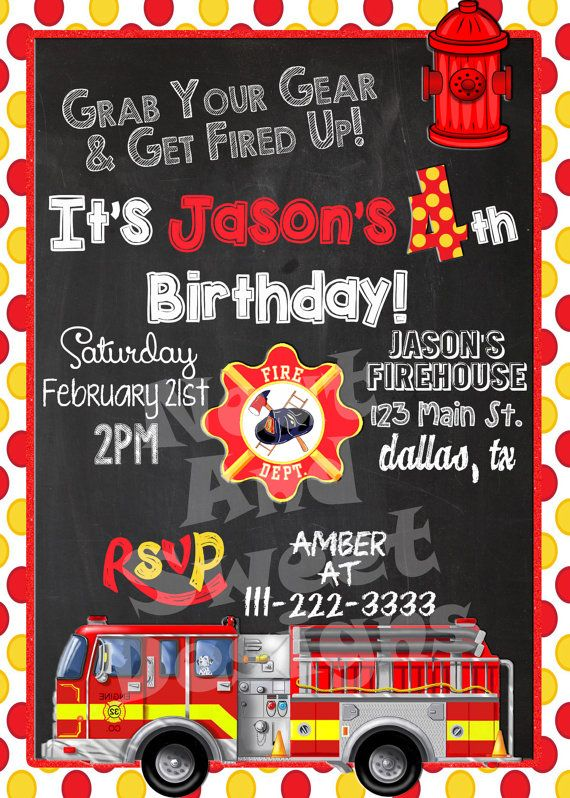 5 X 7 Printable Firetruck Birthday Invitation Firefighter Birthday