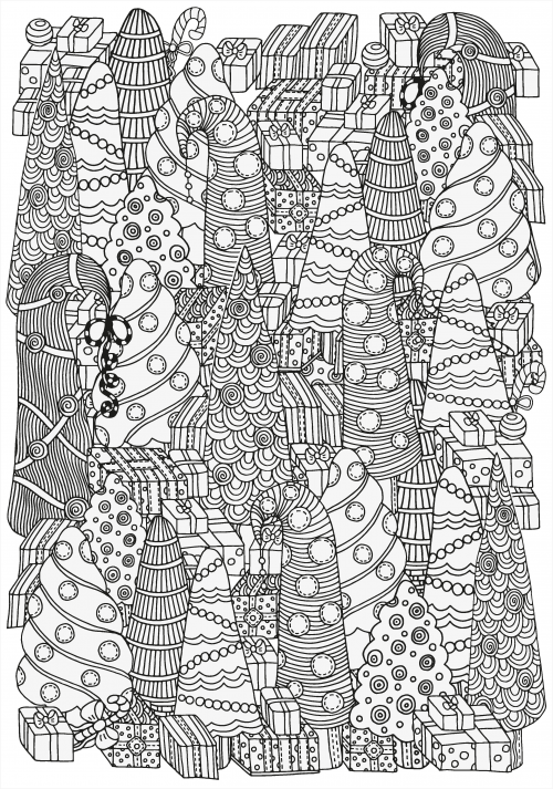 Pattern For Coloring Book Of Christmas Trees And Gifts Hand Drawn Decorative Elements In Vector Black White