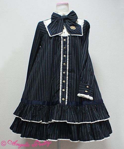 Pretty School one piece comes in ; red/navy/green & grey Length: about 83cm Shoulder width: about 36cm Bust: Free Waist: Free Sleeve length: about 60cm Cuffs: about21cm price ; 26,784 yen