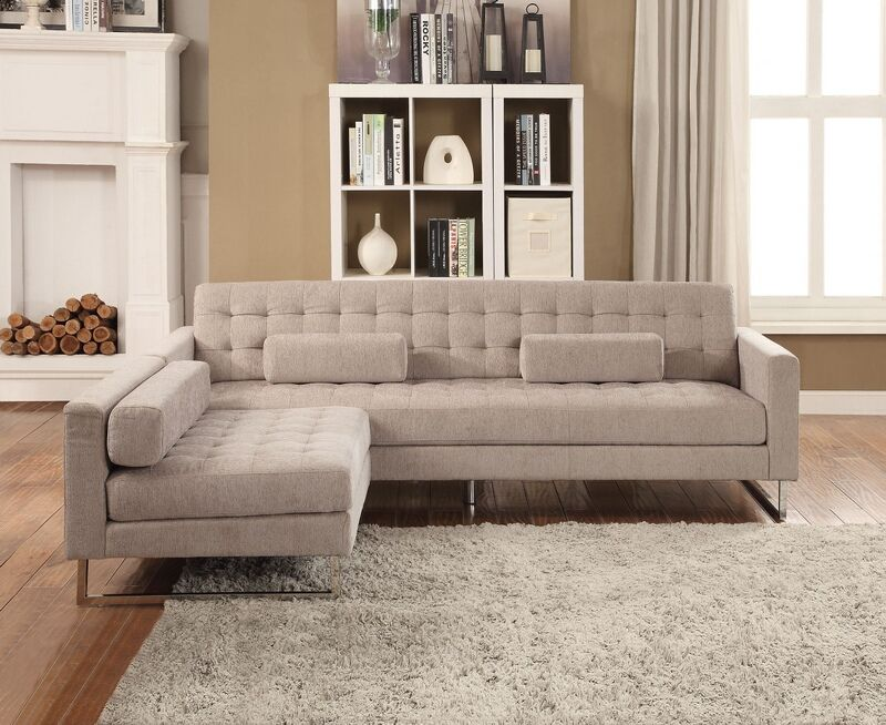 Acme 54180 83 2 Pc Sampson Beige Fabric Sectional Sofa With Chaise