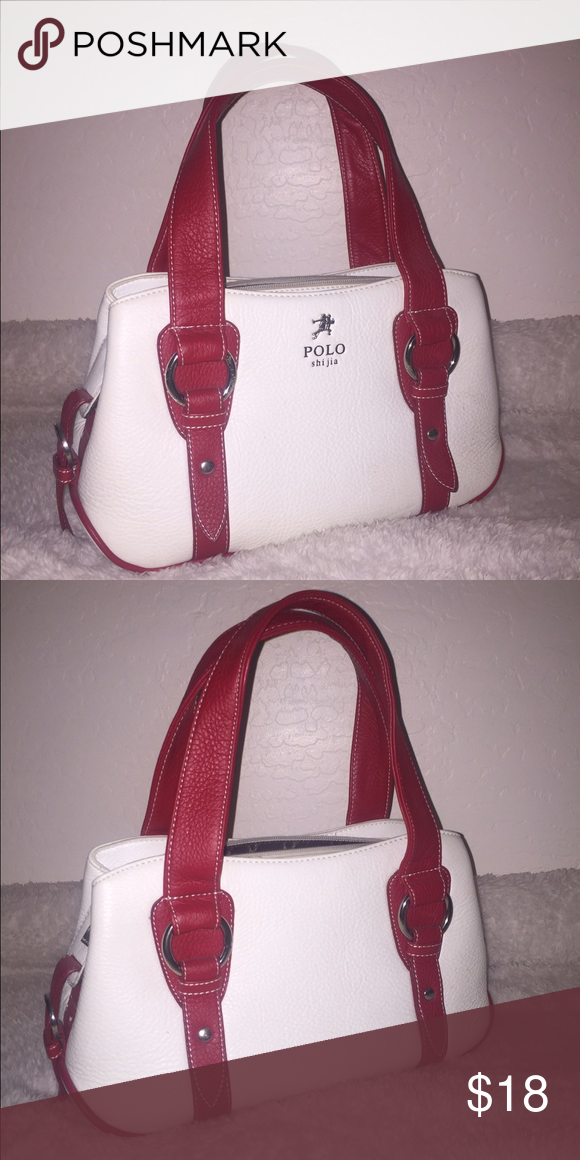 470c86098655 POLO White and Red Handbag Imitation Polo. Slightly used. In great condition.  From Korea. Polo by Ralph Lauren Bags Mini Bags