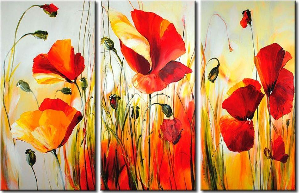 Wandbild Rote Wiese Mohn Malerei Wandbilder Acrylbilder Blumen