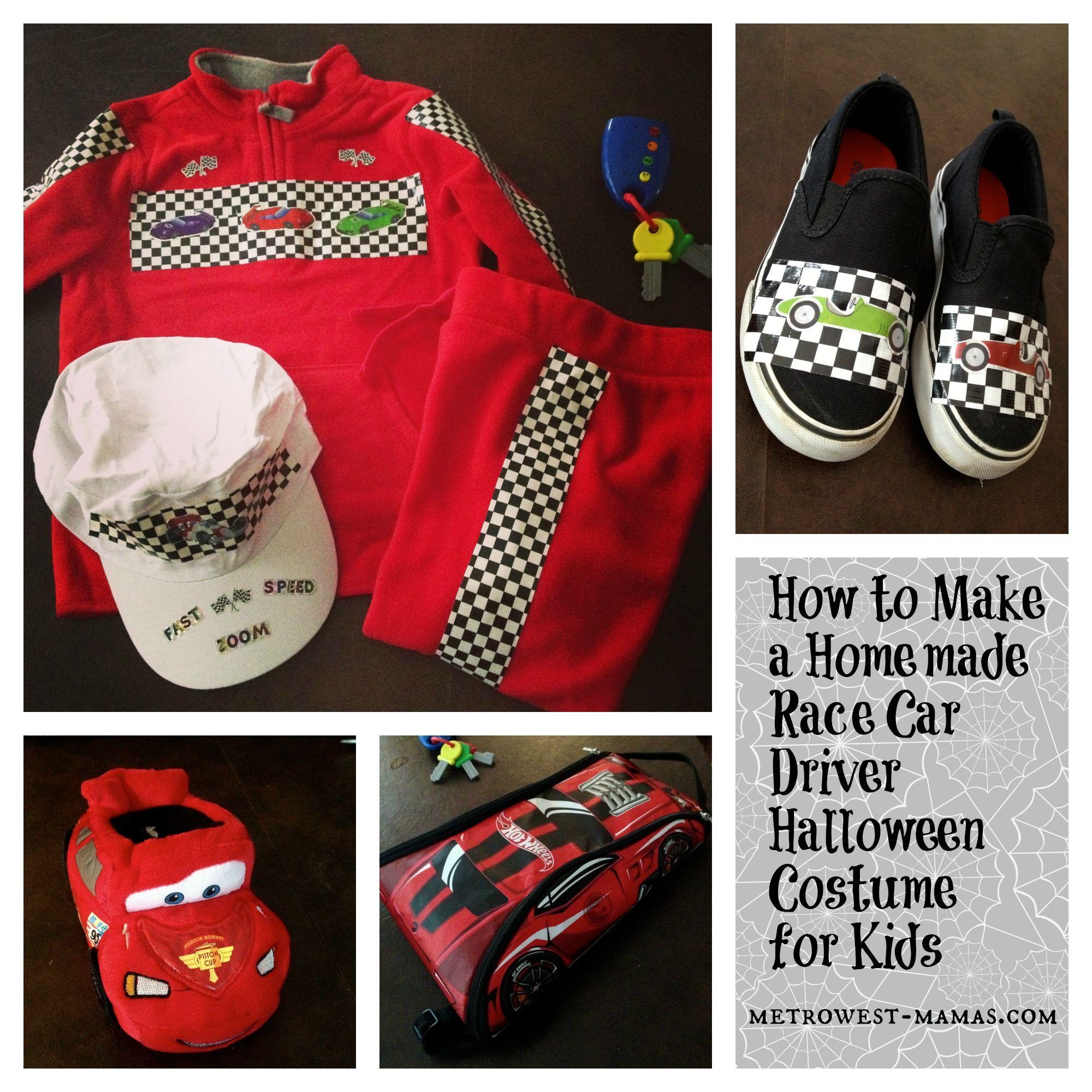 homemade race car driver halloween costume for kids