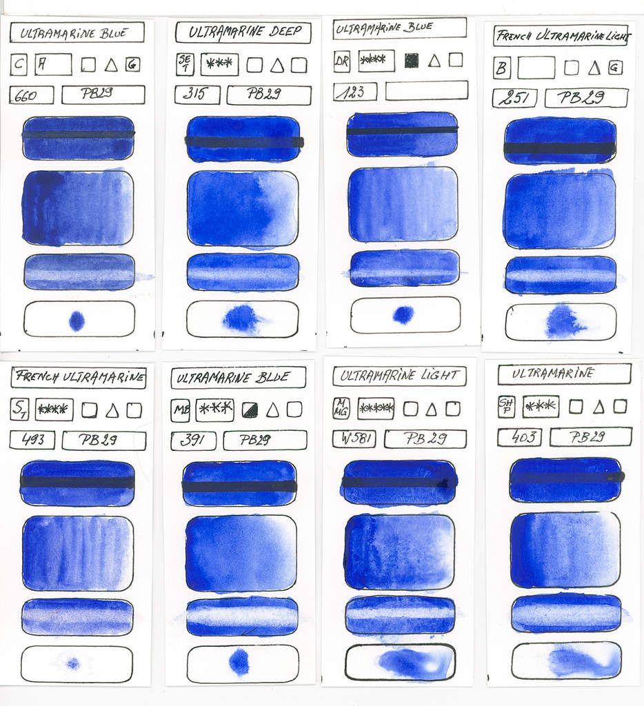 Les Teintes Bleus Selon Les Pigments Pour L Aquarelle Blue