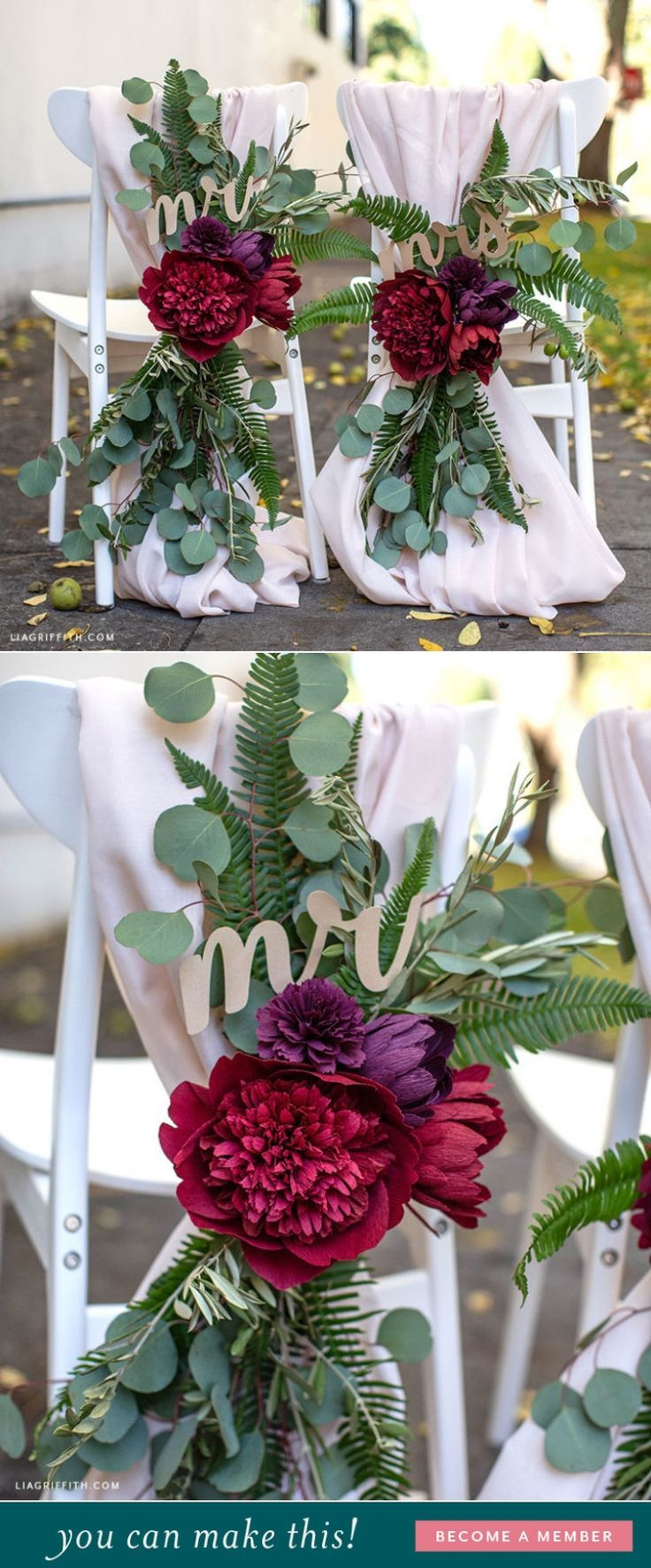 Crepe Paper Flower Wedding Chair Decorations - Lia Griffith