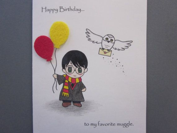 Harry Potter Inspired Birthday Card By ABitofImagination On Etsy 700