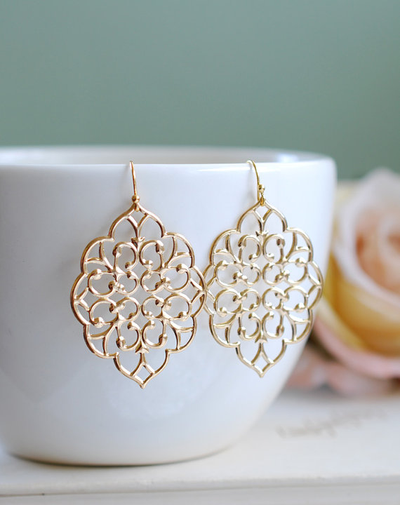 Large Gold Filigree Earrings Boho Chic Moroccan Bohemian Dangle On Etsy 18 00