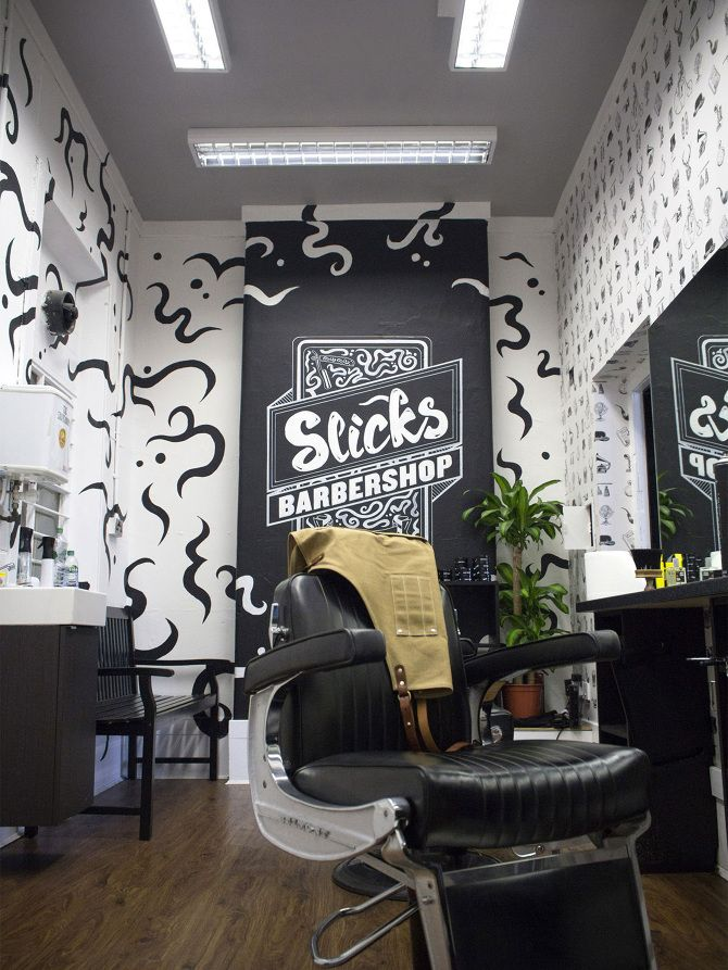 Slick S Barbershop Slick S Room Typography And Lettering Hand Painted Interior Mural Based In Glasgow St Interior Murals Interior Display Shop Window Design