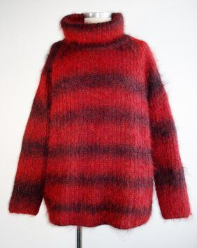 Jean-Paul Gaultier Mohair Vtg Turtleneck Striped Soft Fuzzy Sweater $166