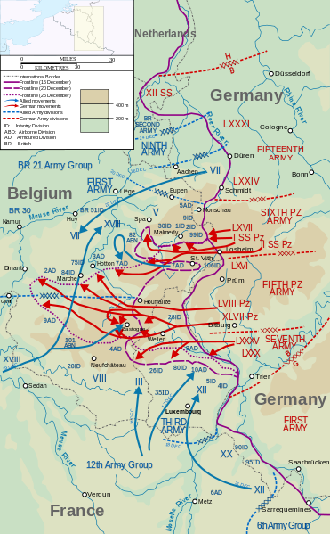 Map showing the positions of german units in red type before the december 1944 world war ii the battle of the bulge begins with the surprise offensive of three german armies gumiabroncs Choice Image