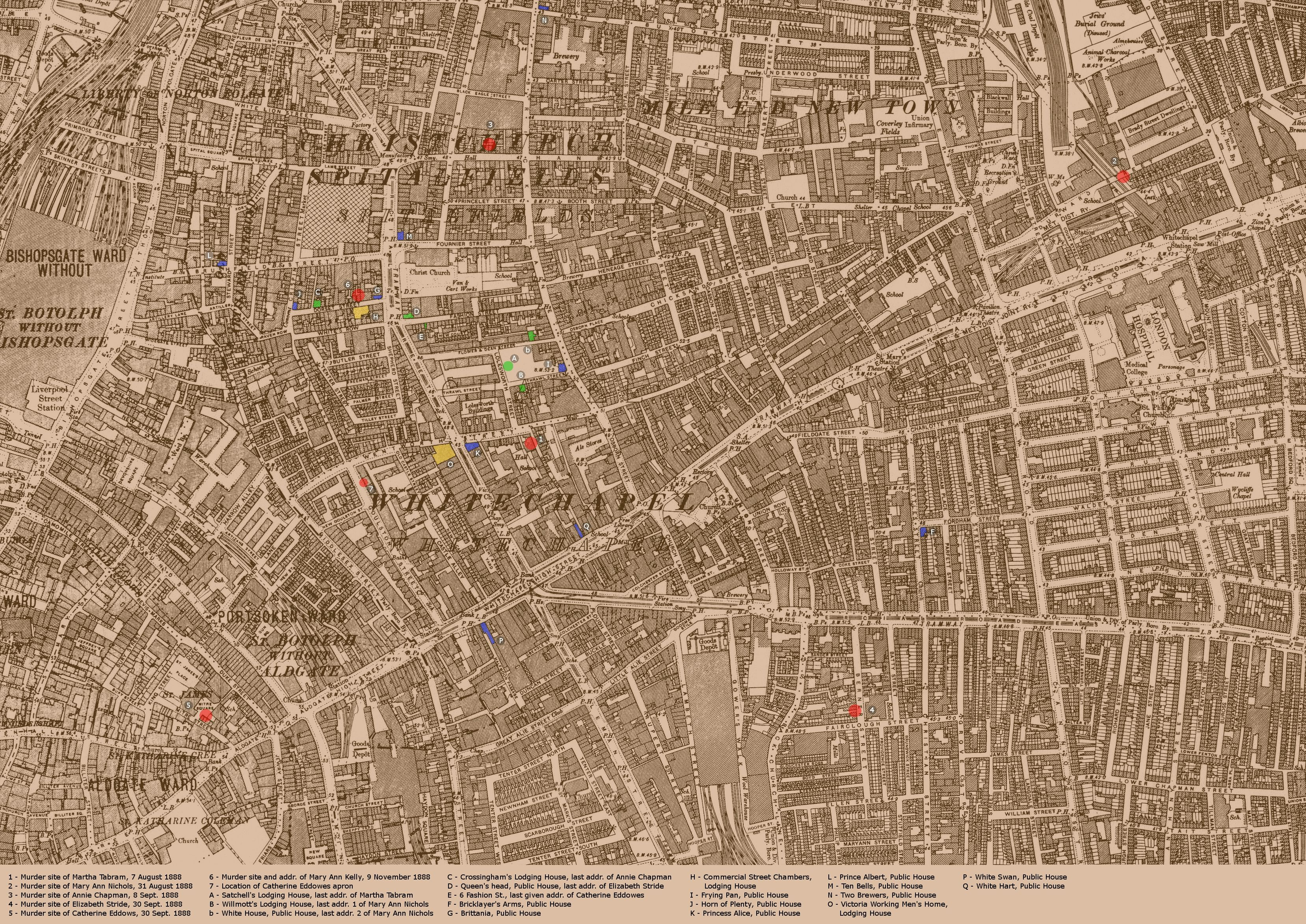 This map shows the hunting ground of Jack the Ripper It marks the