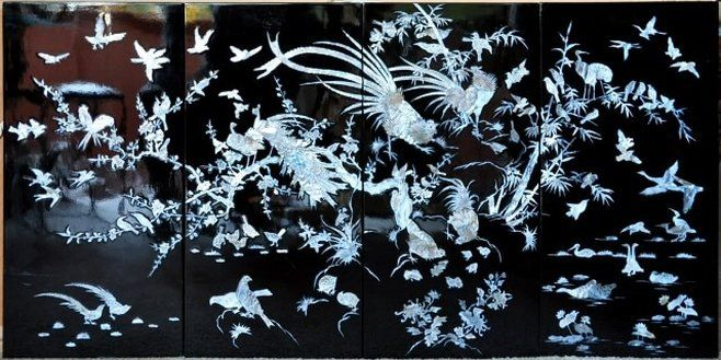Vietnamese mother of pearl inlay black lacquered painting depicting birds and trees