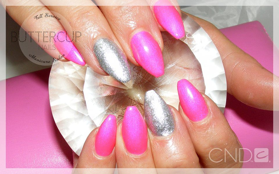 ballerina sculpted acrylic nails in Future Fuschia with feature ...
