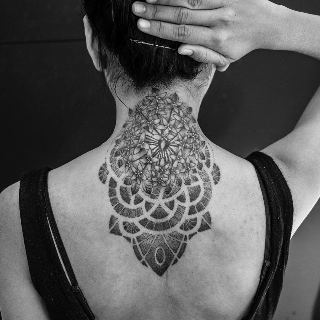 Asoka flower necktattoo Neck tattoo, Flower neck tattoo