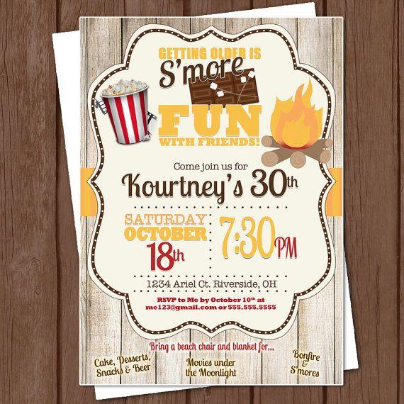 Bonfire Party Invitation 5x7 Digital File Print It Yourself