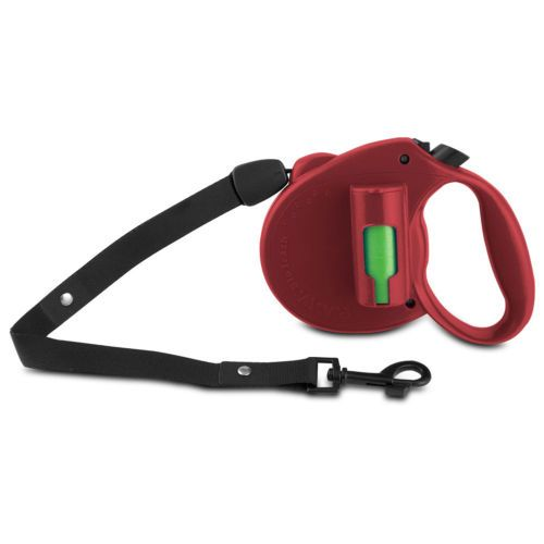 Retractable-Leash-Dog-Leash-Pet-lead-with-locking-mechanism-Pick-up-Bags-Red