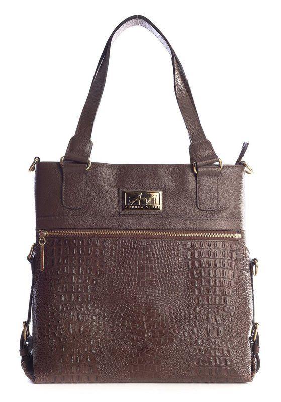25cc7c53f91bc Bolsa duas em uma de couro Andrea Vinci marrom - Enluaze - Bolsas,  mochilas, roupas e acessórios