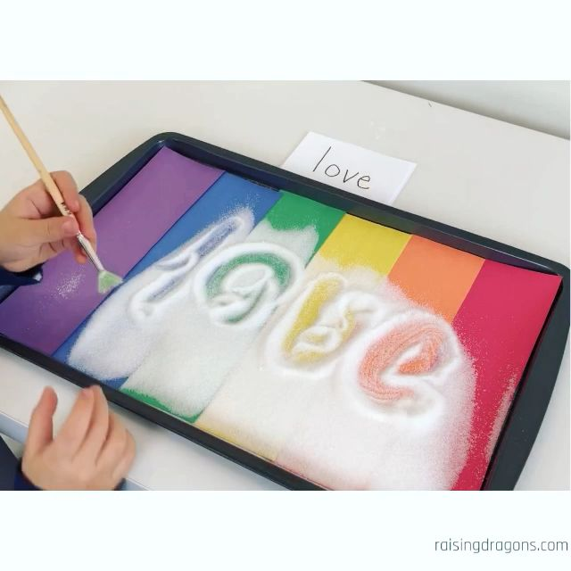Rainbow Salt Writing Tray * ages 3-6 ⋆ Raising Dragons #sensorythings