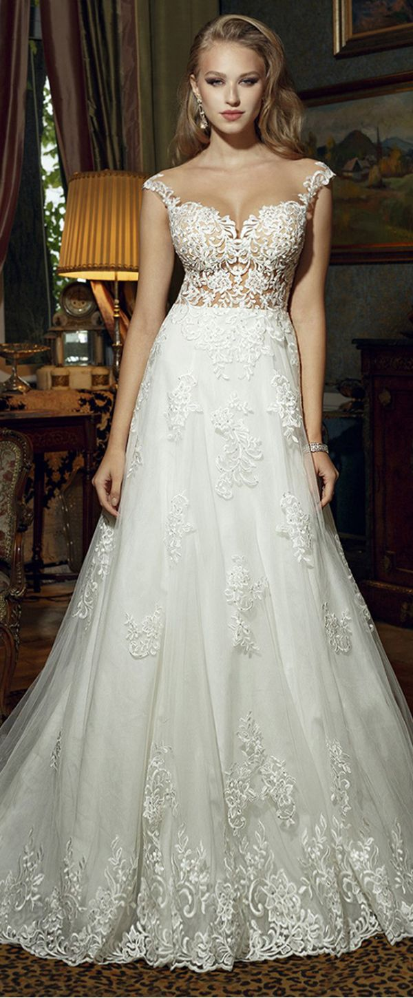 Exquisite Tulle Satin Scoop Neckline Seethrough Aline Wedding Dresses With Lace Appliques Beadings: Frozen Wedding Dress Replica At Websimilar.org