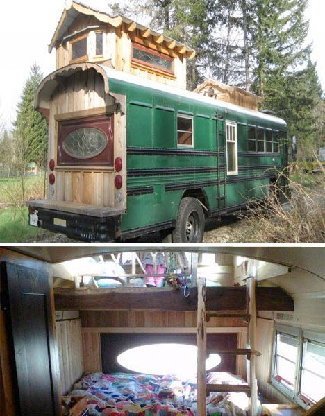 A Cedar Paneled Loft Finishes Off This Quirky Converted Dallas City 72 Passenger School Bus It S Got A Front Extension Wi Bus House Converted Bus Trailer Home