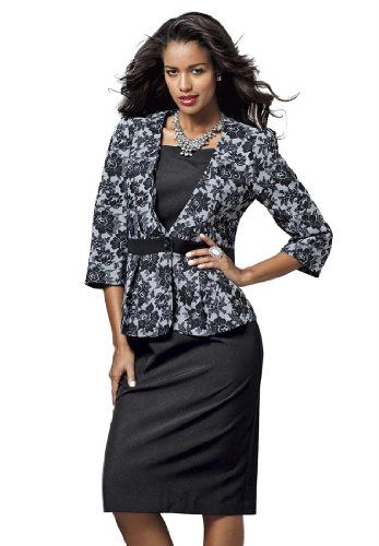82b9270611754  Christmas 2012  Gift Idea  an elegant lace 2-piece  skirt  suit for plus  size women for only  26.99! Great to wear to the company Christmas  party.