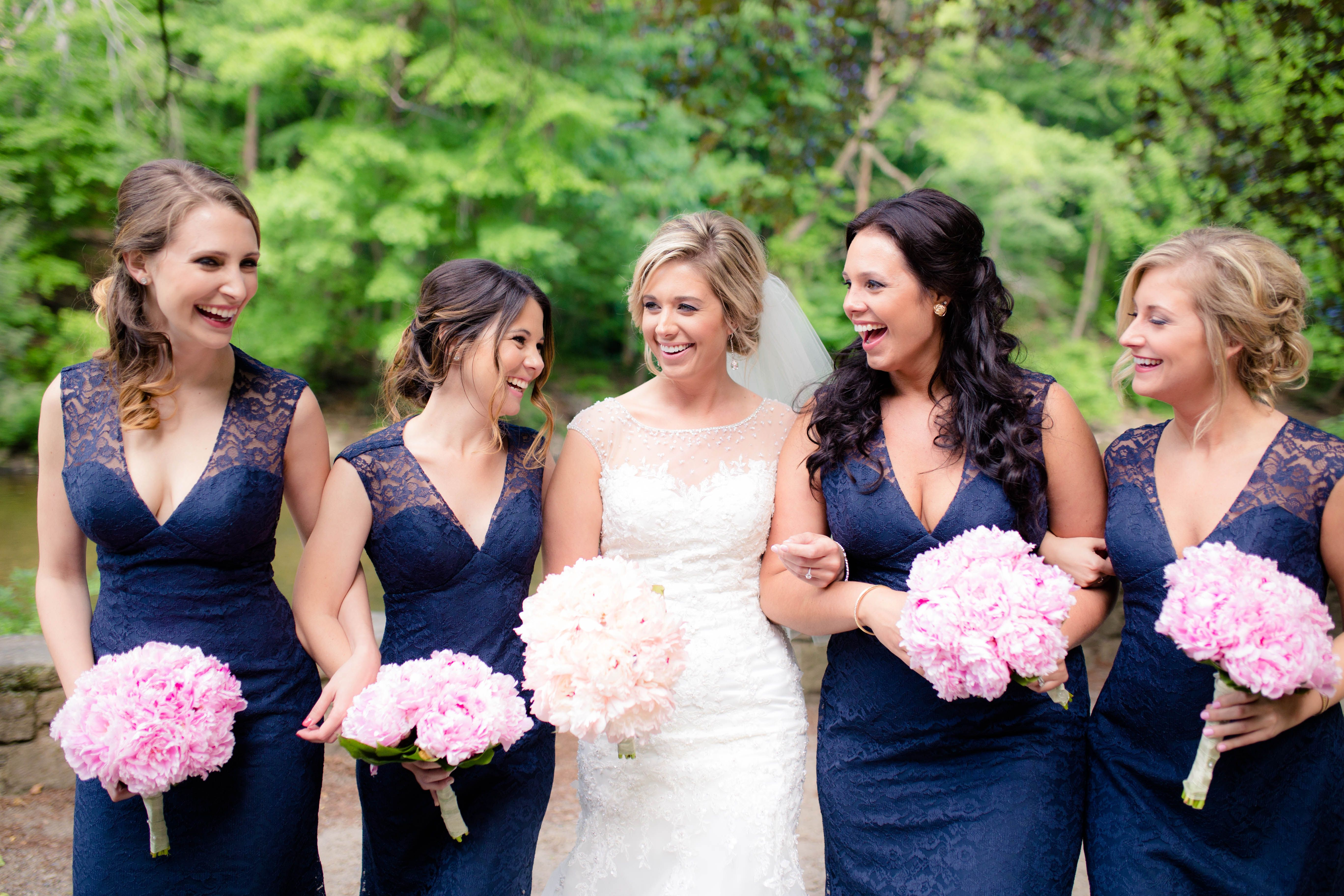 Navy lace bridesmaid dresses and pink peony bouquets bridesmaid navy lace bridesmaid dresses and pink peony bouquets ombrellifo Choice Image