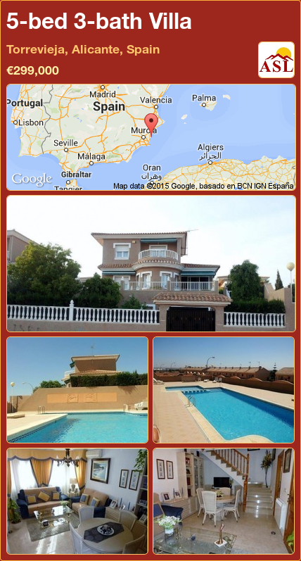 Villa for Sale in Torrevieja, Alicante, Spain with 5