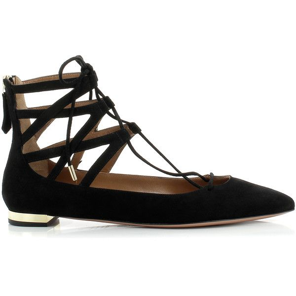Aquazzura Belgravia Black Shoes ($445) ❤ liked on Polyvore featuring shoes, real leather shoes, leather footwear, pointed toe shoes, kohl shoes and leather shoes