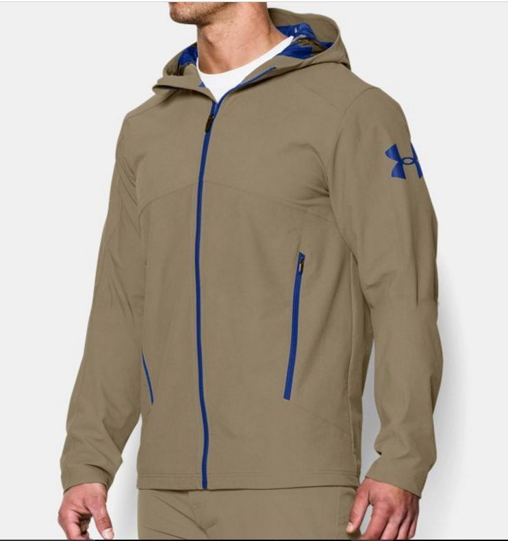 Under Armour UA Combine Training Helix Storm Shell Tan Beige Jacket Coat  Men M  UnderArmour  LoosePerformanceJacket 08eb59ad0