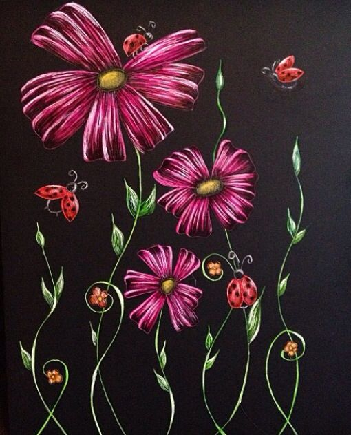 Flowers And Ladybugs Scratchboard 8x10 Not For Sale 2013 Scratchboard Painting Abstract