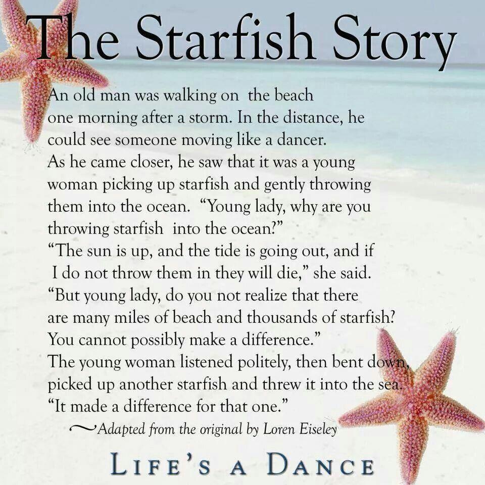 Starfish poem card - Wise Words The Starfish Story