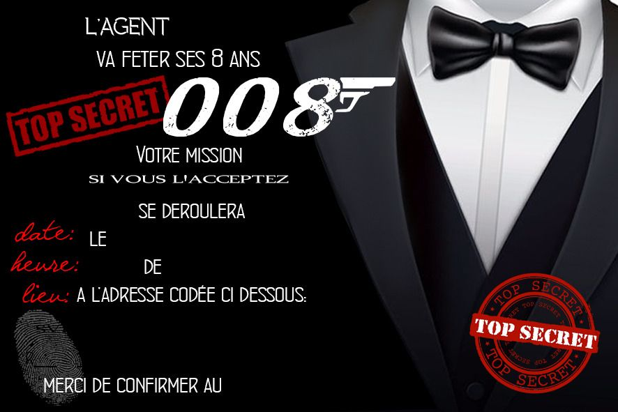 Invitation Anniversaire Agent Secret Espion 007