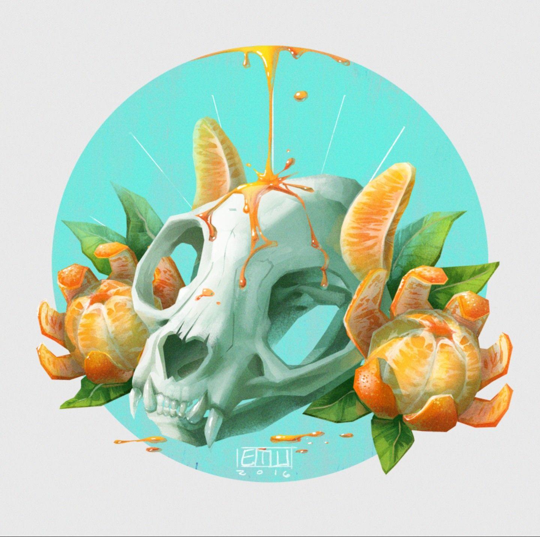 Orange wolf skull