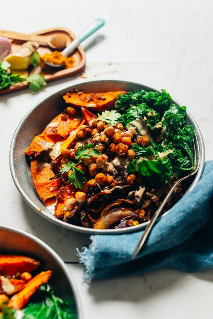 Sheet Pan Meal: Curried Sweet Potato & Chickpeas Dinner made entirely on 1 pan! A simple, curried sweet potato and chickpea dish! Serve with fresh or steamed greens, tahini, lemon, and sides of choice!