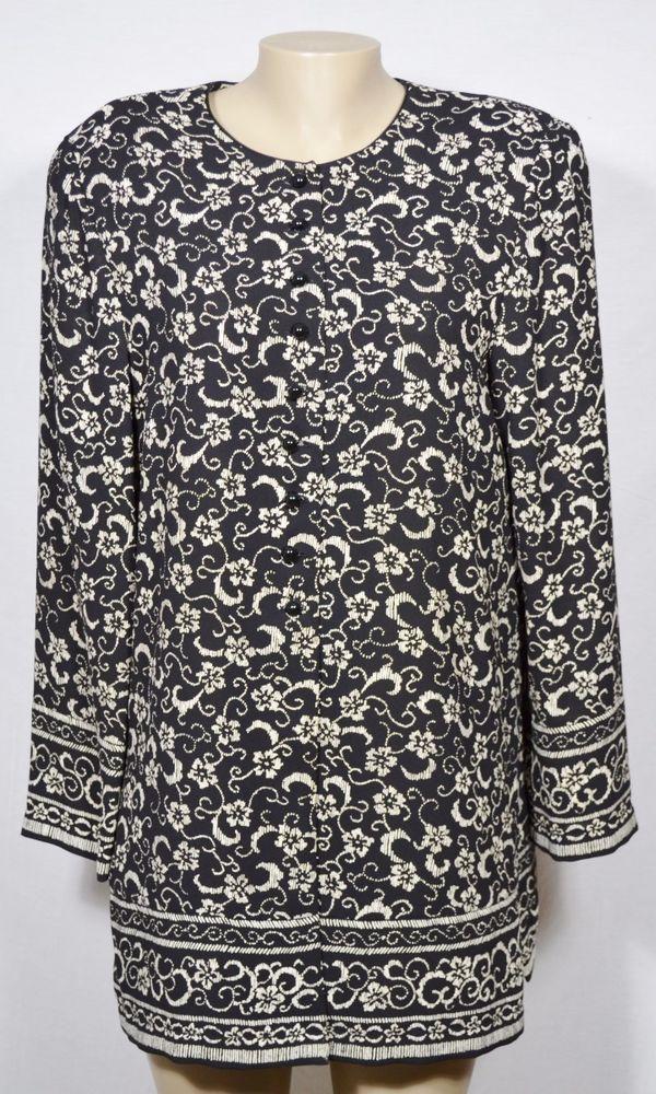 LIZ CLAIBORNE DRESSES Black/Beige Patterned Blouse Jacket 14 Long Sleeves #LizClaiborne #Blouse #Career