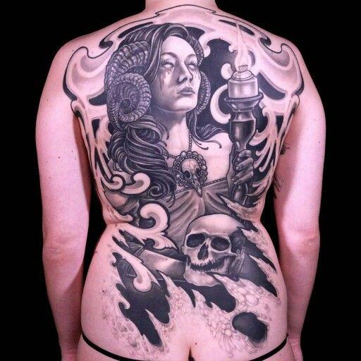 Color Tattoo By Matt From Black Sails Tattoo: Matt's 35 Hour Black & White Back Piece
