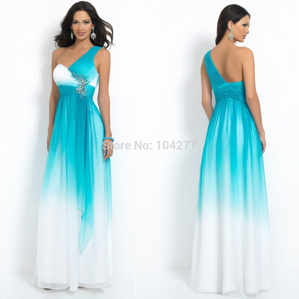 A-line One Shoulder Ombre Chiffon Prom Dress Full length Long Party ...