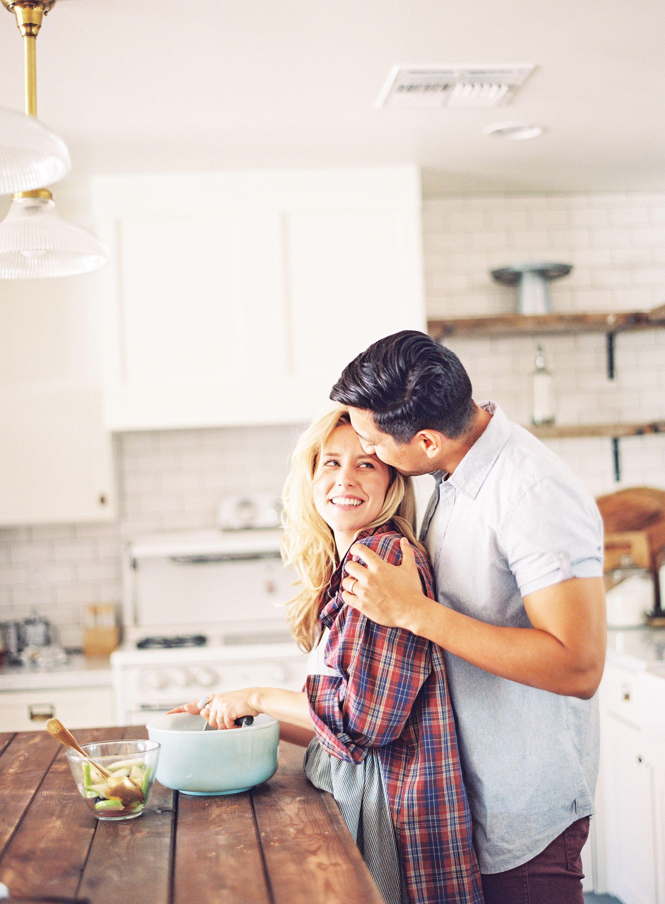 Cozy kitchen engagement shoot engagement shoots