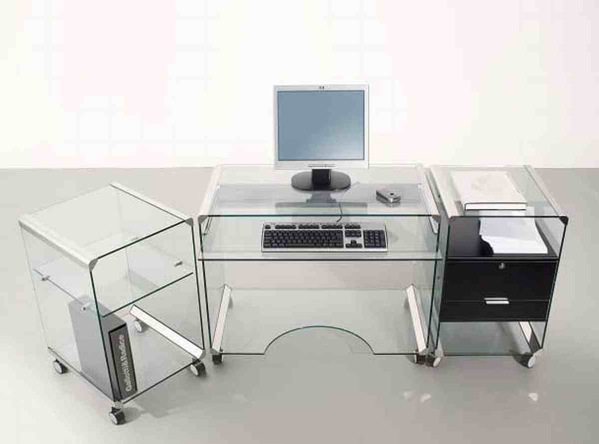 Wonderful Glass Top Idea With Modern Furniture Computer Desk And Fabulous Shelves Also Endearing Black Drawer And Wheel Dengan Gambar